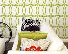 Large Modern Wall Stencil Graphic Pattern-Chain Link Allover Stencil for DIY Wall Decor. MAYBE THE BEDROOM WALL?