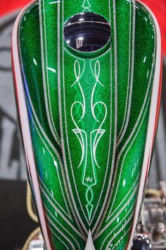 Painted Motorcycle Gas Tank for Progressive International Motorcycle Show in Miami. Custom Motorcycle Paint Jobs, Custom Paint Jobs, Custom Art, Air Brush Painting, Car Painting, Pinstripe Art, Pinstriping Designs, Motorcycle Tank, Paint Line