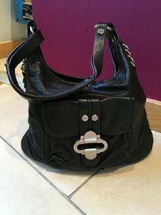 Girls Black Real Leather Shoulder hand bag  34cm x 25cm
