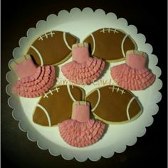 Football or Tutus gender reveal cookies for baby shower… Fall Gender Reveal, Gender Reveal Cookies, Baby Shower Gender Reveal, Baby Gender, Tutu Invitations, Gender Party, Fancy Cookies, Baby Shower Cookies, Reveal Parties