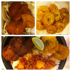 I made white rice, Puerto Rican beans, Puerto Rican plantains (tostones), and breaded tilapia fish deep fried. Let me know if you would like the recipe.