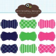 Erin Bradley Designs: NEW! Navy Blue, Kelly Green & Pink Journal Tags