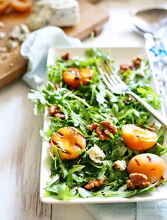 I know we're a long way from summer, but I'm dreaming of this salad...  Grilled apricot, Gorgonzola, and candied walnut arugula salad from #yummymummykitchen     The perfect #summer #salad