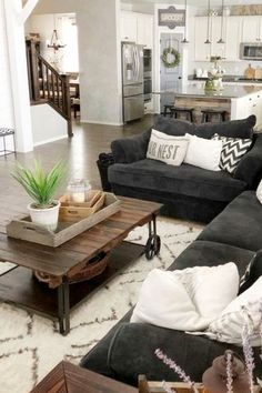 neutral gray farmhouse living room / den in an open floorplan layout design Cozy Grey Living Room Inspiration – LOVE all these gray and white living rooms and dark gray living room ideas! I really like a neutral living room with pops of … Cozy Grey Living Room, Living Room Sets, Living Room Designs, Living Room Furniture, Living Room Decor, Bedroom Decor, Wooden Furniture, Antique Furniture, Furniture Ideas