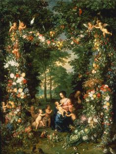 Jan Brueghel the Elder, Holy Family in a Flower and Fruit Wreath Fine Art Reproduction Oil Painting Peter Paul Rubens, Christian Paintings, Christian Art, Tissue Flowers, Flower Garlands, Army Couple Pictures, Medieval Paintings, Family Painting, Sagrada Familia