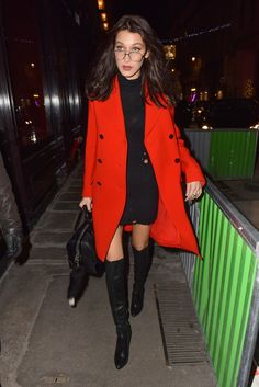 LBD with tall black boots + red coat.