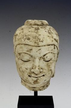 .Head from an Image of the Buddha |  Artist Unknown (Burma, Asia), 11th-12th century  Stucco