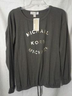 MICHAEL KORS DRAWSTRING HEM Gold Logo Top Sz S Light Sweatshirt DUFFLE/Olive  #MichaelKors #LightKnitTopSweatshirt