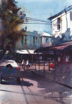 Risultati immagini per roberto zangarelli Watercolor Landscape, Watercolour Painting, Michael Bennett, Street View, Amazing, Artist, Urban Landscape, Paisajes, Watercolors