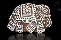 Hand Carved Indian Wood Textile Stamp Block- Large Indian Elephant. $29.50, via Etsy.