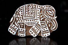 Hand Carved Indian Wood Textile Stamp Block- Large Indian Elephant. $29.50, via Etsy.
