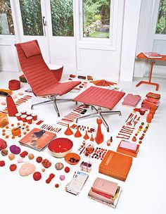 Great color study and organized so neatly.  From Eames Aluminum Chair brochure