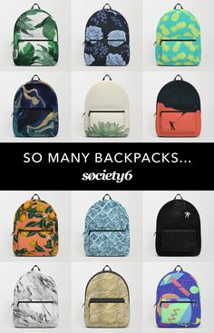 """Society6 has TONS of backpacks to choose from, all designed by independent artists. Featuring a 15"""" laptop pocket, adjustable padded shoulder straps, and double zipper enclosures, we made sure you'll love the feel and function as much as the design you choose."""
