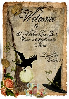 Witches Tea Party Under A Halloween Moon brujas halloween ideas Halloween Moon, Halloween Magic, Halloween Prints, Holidays Halloween, Vintage Halloween, Happy Halloween, Halloween Decorations, Halloween Witches, Halloween Poems