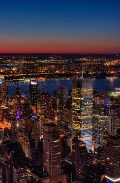 New York at night from Empire State Building, USA