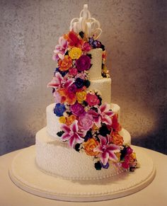 Pretty multicolor wedding cake by Rosebud Cakes, CA. Birdcage Wedding Cake, Wedding Cake Photos, Wedding Cakes, Rosebud Cakes, Multicolor Wedding, 21st Cake, Cake Factory, Fashion Cakes, Pastry Cake