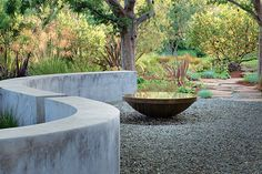 Serpentine wall and fountain bowl in a sea of gravel