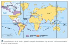 map -  Voyages of Discovery and World Empires, 1550