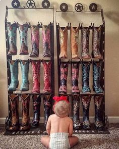 Old gringo mommy trafin paving the way for the next generation we dare you to find a cuter pic than this today! oldgringoboots boot storage every cowgirl should have a few dedicated shelves in her closet! Estilo Cowgirl, Cowboy And Cowgirl, Cowgirl Style, Baby Girl Cowboy Boots, Cowboy Hat Rack, Mode Country, Country Girls, Western Wear, Western Boots