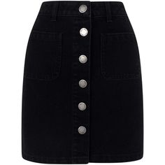Miss Selfridge Black Patch Pocket Skirt ($49) ❤ liked on Polyvore featuring skirts, mini skirts, bottoms, black, a line skirt, short denim skirts, a line mini skirt, button-front denim skirts and denim mini skirt