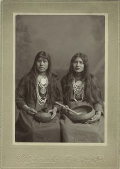 Two Creek women in Muskogee after making the trip along the Trail of Tears. Notice the photographer's embossing at the bottom of the frame which denotes Muskogee, Indian Territory before Oklahoma's statehood. The woman on the right is Ella Monohwee.