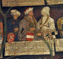 Elisabeth von Luxemburg (links), Albrecht III. (Mitte) und Beatrix von Zollern (rechts) mit ihren Wappen im monumentalen Habsburger-Stammbaum von Konrad Doll, Tirol 1497 (Neue Burg, Wien)