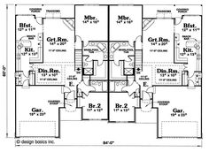 This well-designed multi-unit design with a ranch style structure (House Plan has over 1630 square feet of living space. The one story floor plan includes 2 bedrooms. Electrical Layout, Electrical Plan, Traditional House Plans, Traditional Design, Duplex Plans, Frame Layout, Duplex Design, Roof Types, Kitchen Cabinets In Bathroom