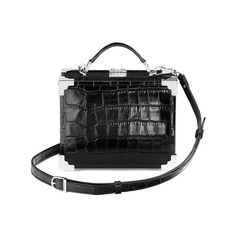 Aspinal of London Mini Trunk Clutch In Deep Shine Black Croc (€640) ❤ liked on Polyvore featuring bags, handbags, clutches, black, crossbody, top handle handbags, crossbody purse, cross-body handbag, vintage purses and mini handbags