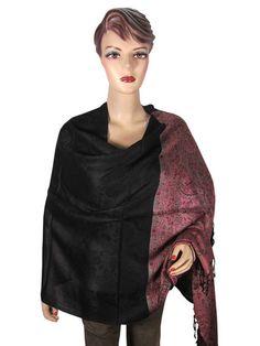 Black Scarf High Fashion Reversible Pashmina Shawl Wrap Stole for Womens   eBay