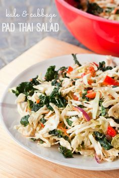 Kale & Cabbage Pad Thai Salad-so easy to make, makes enough for days, and stays fresh because the kale is so crunchy. LOVE