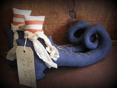 Witch Boots Primitive Halloween Decoration Holiday by ThatSallie, $20.00