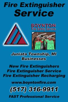 Fire Extinguisher Service Juniata Township (517) 316-9911.. Local Michigan Businesses you have found the complete source for Fire Protection. Fire Extnguishers, Fire Extinguisher Service.. We're got you covered..