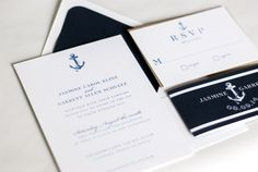 Navy and White Striped Anchor  Preppy and by twigandjuniper