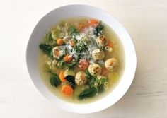 Spring Minestrone soup with some delish Chicken Meatballs!