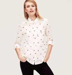 Embroidered Clover Softened Shirt | Loft