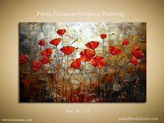 ORIGINAL Oil Painting Poppies Abstract Contemporary by Artcoast, $300.00