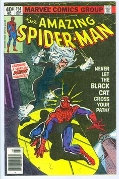 first appearance of marvel characters | Amazing Spider Man 194 Marvel Comics 1st Appearance of Black Cat 1979 ...