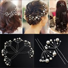 2Pcs Fashion Women Wedding Bridal Bridesmaid Pearls Hair Pins Clip Comb Headband