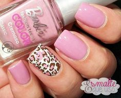 Nail Art Design - Pink Leopard Print