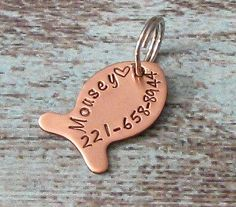 Hand Stamped Personalized Copper Fish Shaped Cat ID Tag - Pet ID Tag, funny cat tags, cute cat tags    Keep your pet safe with our 1 antiqued