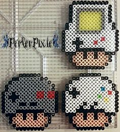Gaming Mushrooms (Gameboy, NES Controller, SNES Controller) perler beads by PerlerPixie