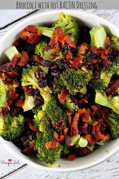 Broccoli with Hot Bacon Dressing #recipe - RecipeGirl.com