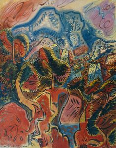 André Masson (French, 1896-1987), The Red Lands and the Montagne Sainte Victoire [Les Terres rouges et la Montagne Ste Victoire], 1948. Oil on canvas,966 x 765 x 23mm.