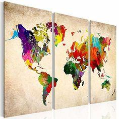 XXL Kunstdruck   3 Teilig Wand Bilder Bunte Weltkarte Auf Leinwand Im  Aquarell Design Format 120x80cm   Fertig Auf Keilrahmen | Pinterest