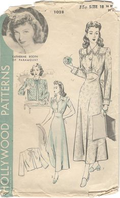 Hollywood 1028 1940s Misses Modest Nightgown and Bed Jacket