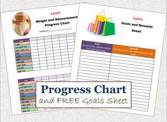PRINTABLE Weight Loss Progress Chart, FREE Goals and Rewards Sheet. $3.00, via Etsy.