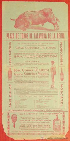 Importante Cartel taurino, Muerte de Jóse Gómez (Gallito) Talavera de la Reina ,1920. (Papel - Carteles Gran Formato - Carteles Toros)