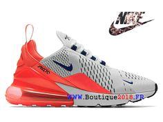 Nouveaux Nike Air Max 270 GS Chaussures Pas Cher Prix Femme Gris   Rouge  AH6789- d360a03b5aa2