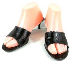 Lauren Ralph Lauren Shoes Womens 7.5 B Black Patent Leather Open Toe Heels #LaurenRalphLauren #OpenToe