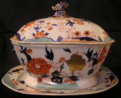 Mason''s Ironstone Soup Tureen & Stand with Gold Rose Pattern